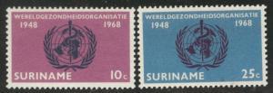 Suriname Scott 352-353 MNH** 1968 WHO set