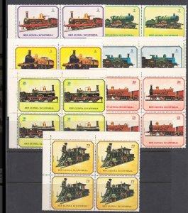 Equatorial Guinea #7868-7874 MNH Blocks CV€14 Locomotives