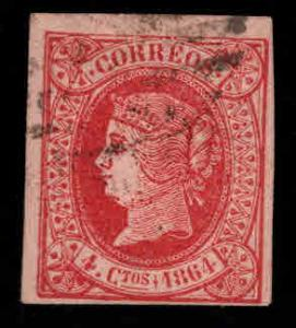 SPAIN Scott 62 Used 1864 Queen Isabella imperforate