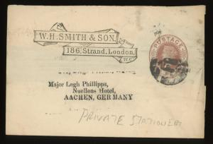 1880s Great Britain QV 1d LONDON Private Stationery Wrapper to Germany