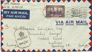 $1.00 single use via Miami, Brazil & West Africa to INDIA, 1942 cover Canada