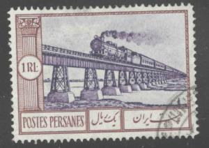 IRAN Scott 793 Used steam locomotive crossing bridge from 1935 set CV$30