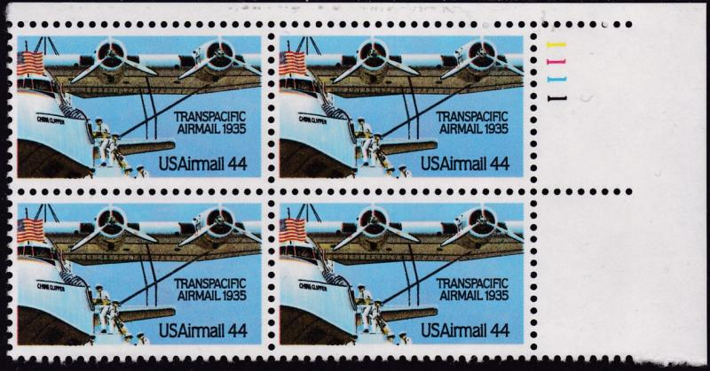 United States 1985 44c Transpacific Airmail Plate Number Block of Four VF/NH