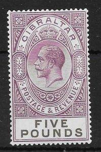 GIBRALTAR SG108 1925 £5 VIOLET & BLACK MTD MINT