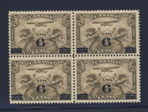 4x Canada Airmail Stamps Block of 4 #C3-6c/5c Provisional Guide Value = $85.00