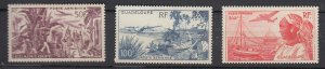 J25827  jlstamps 1947 guadeloupe mh set #c10-12 airplanes/views