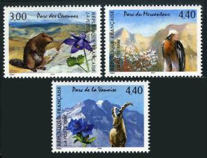 France 2514-2516, MNH. National Parks. Animals, Birds, 1996