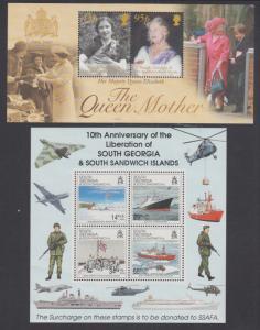 South Georgia Sc 285, B4a MNH. 1992 & 2000 Souvenir Sheets, VF