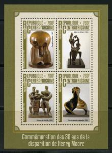 CENTRAL AFRICA 2016 30th MEMORIAL OF HENRY MOORE SHEET MINT NH