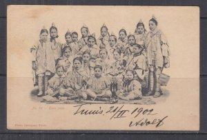 TUNISIA, 1902 ppc. Jewish Schoolgirls, 5c. Tunis to Austria.