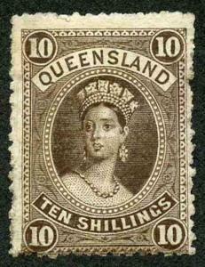 Queensland SG155 10/- brown wmk 5 M/Mint (hinge remainder)