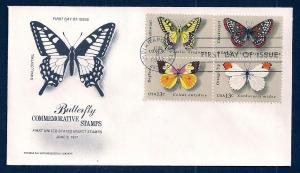 UNITED STATES FDC 13¢ Butterflies BLOCK 1977 Say Entomology