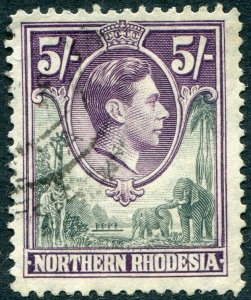 NORTHERN RHODESIA-1938-52 5/- Grey & Dull Violet Sg 43 FINE USED V48304