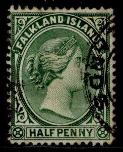 FALKLAND ISLANDS QV SG17, ½d deep yellow-green, USED. Cat £21.