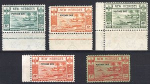 New Hebrides 1938 5c-1fr Post Due SG D6-D10 Sc J6-J10 VLMM/MVLH Cat £160($225)