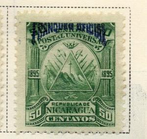Nicaragua 1895 Early Issue Fine Mint Hinged 50c. Official Optd 323742