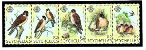 Seychelles 447 MNH 1980 Birds strip of 5