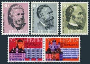 Switzerland 589-593,MNH.Michel 1024-1028. UPU-100,1974.Lausanne,Founders.