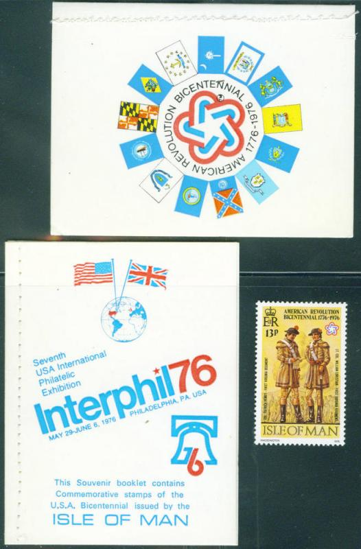Isle of Man Interphil76 booklet contains 4 Scott 80