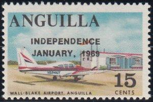 Anguilla 1969 MNH Sc #60 Overprint on 15c Wall-Blake Airport Variety