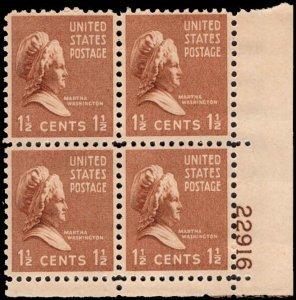 US #805 1 1/2¢ MARTHA WASHINGTON MH LR PLATE BLOCK #22916 DURLAND .50¢