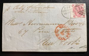 1872 Liverpool England Letter sheet cover To New York USA