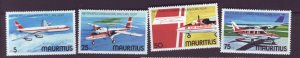 J21985 Jlstamps 1977 mauritius set mh #440-3 airplanes