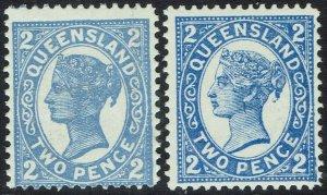 QUEENSLAND 1907 QV 2D - 2 TYPES WMK CROWN/A PERF 12.5,13