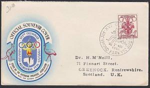 AUSTRALIA 1956 Olympic Games cover commem cancel RUNNING...................54060