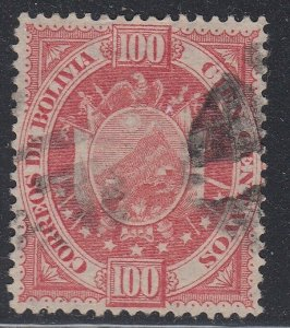Bolivia 1894 100c Brown Rose on Thin Paper Used. Scott 46