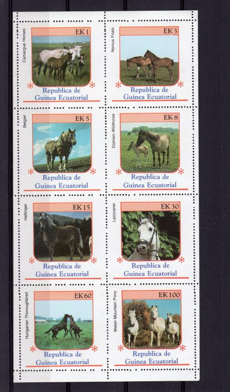 Equatorial Guinea 1976 Horses Sheetlet (8) Perforated MNH VF