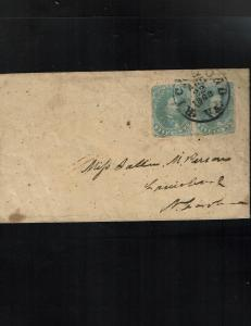 CSA Scott #1 F/VF attractive pair tied on cover. SCV - $500.00