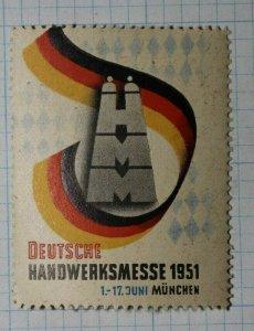German Craft Fair Munchen 1951 Exposition Poster Stamps Ads