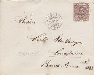 Chile 10c Cabrera Envelope 1914 Lota, Chile to Concepcion.  EUROPEAN SIZE
