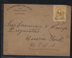 ECUADOR (P2504B) 1886 UPU CANCEL GUAYAQUIL TO USA