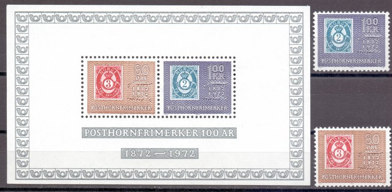 Norway. 1972. 637-38 bl1. Stamp on stamp. MNH.