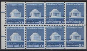 1510c Jefferson Memorial MNH booklet pane with dual bar tab