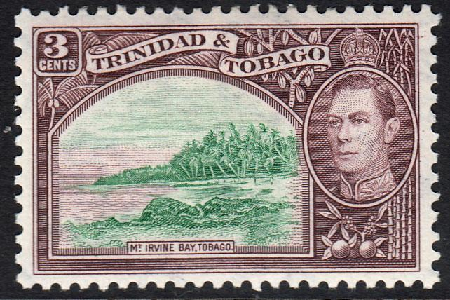 Trinidad & Tobago KGVI 1938 3c Green Purple-Brown SG248a Mint Hinged