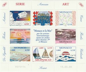 Monaco 2000 Art Depicting Monaco and the Sea Sheet MNH** X0247