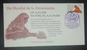 A) 1998, MEXICO, WORLD FOOD DAY, FDC, WOMAN NURSES THE WORLD