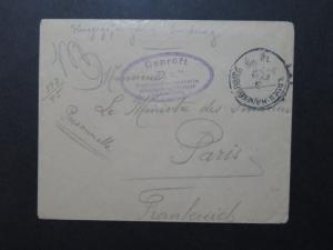 Germany WWI Hammelburg POW Cover to Paris - Z9714
