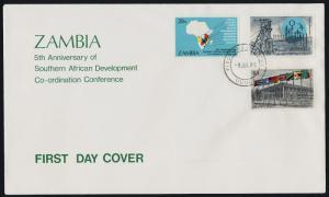 Zambia 324-6 on FDC - SADCC, Map, Mining, Flags, Mulungushi Hall