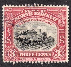 North Borneo Scott 138 carmine shade F to VF postally used.