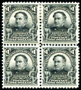 HERRICKSTAMP UNITED STATES Sc.# 311 $1.00 Farragut Block of 4, 2 Hinged, 2 NH