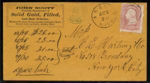 #79 ON 1867 ADVERTISING COVER ADRIAN, MI TO N.Y.C. W/ PF CERT CV $2,000 WLM3148