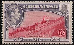 Gibraltar #113b Mint 1915 Cat. $50.00 1938 Six Pence Perf 13.5 Fine HR