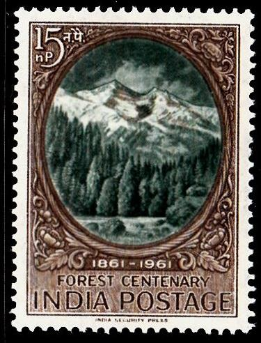 India 1961 Cent' Scientific Forestry SG445 15n.p Green & Brown MM