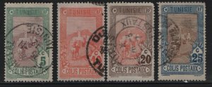 TUNISIA , Q1-Q4, (4) SET,  USED, 1906 Mail delivery