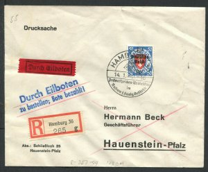 Germany Mi 727 EF Danzig stamp Registered Express Cover 1940 CV ~$90