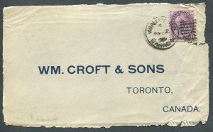 MANITOBA TOWN CANCEL NUMERAL COVER FRONT WINNIPEG